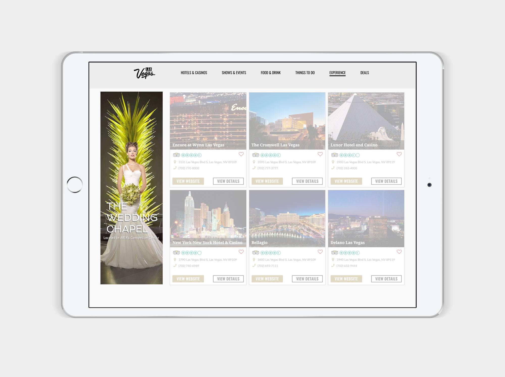 Aria wedding ad on ipad