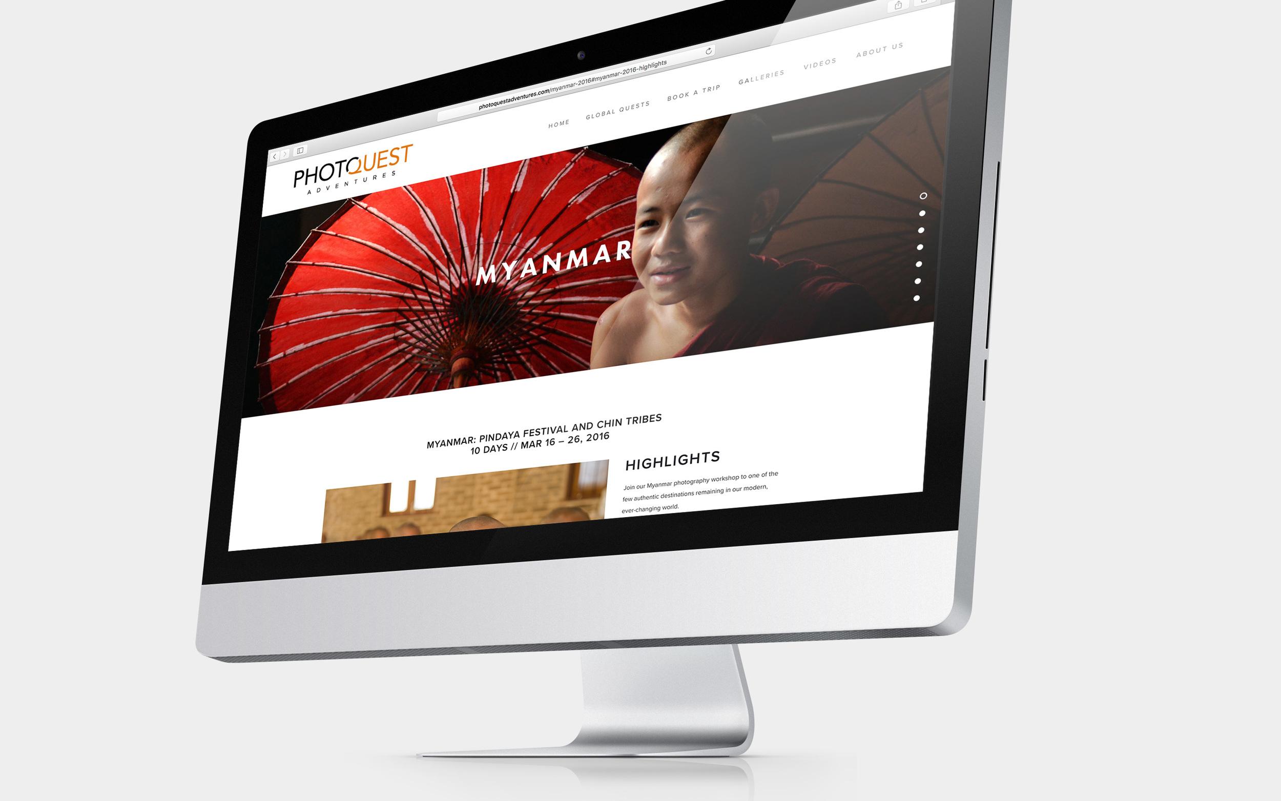 PhotoQuest website on iMac