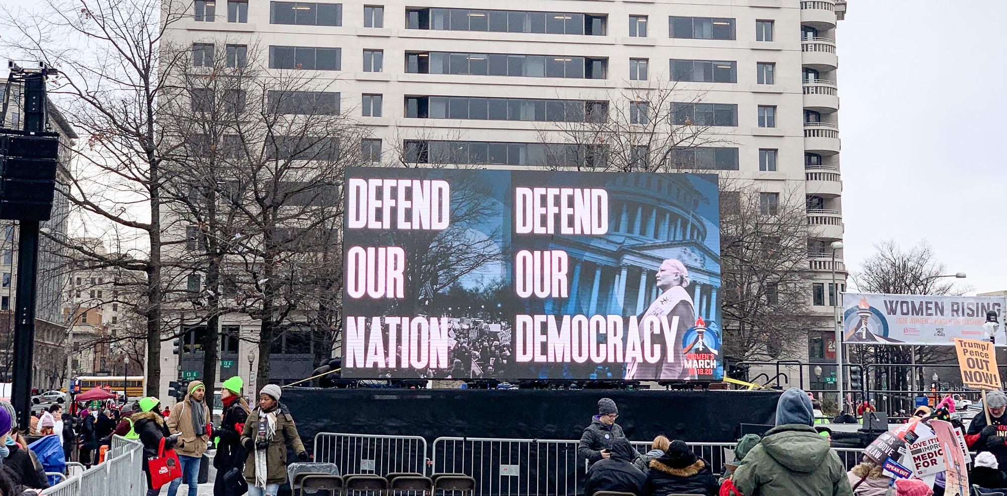 Women's March digital signage