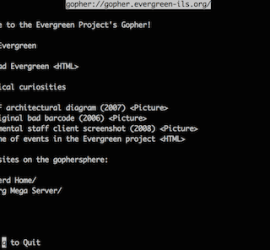[Screenshot of the Evergreen Gopher System view using the UMN client]
