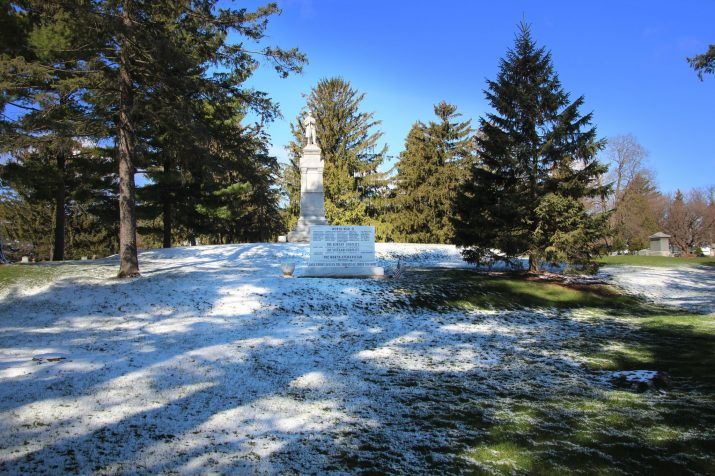 Civil War Monument with snow