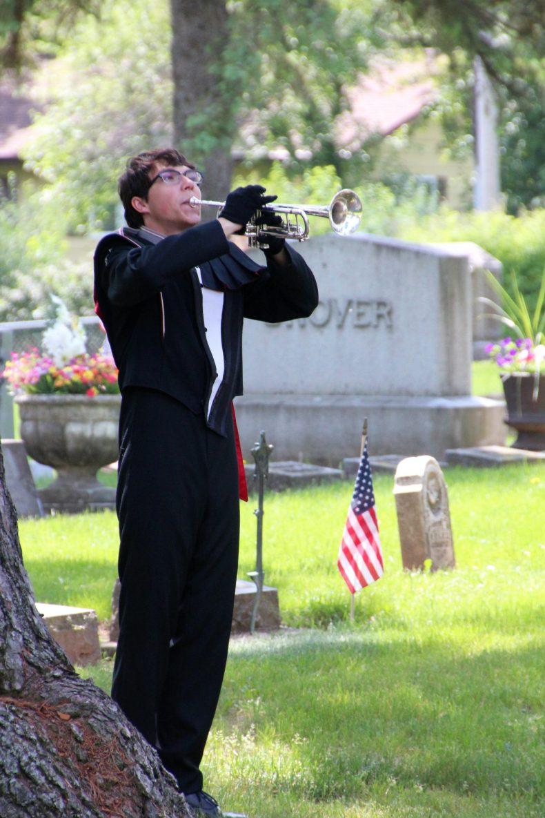 Bugler playing taps on Memorial Day