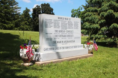 view of War Memorial Marker from south side