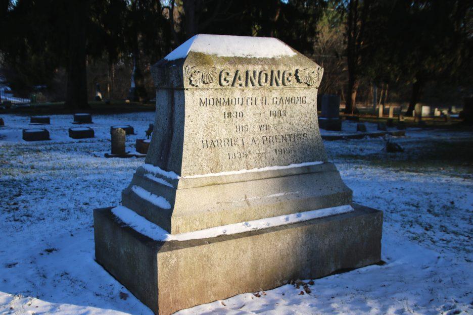 Monmoutn H. Ganong marker in winter