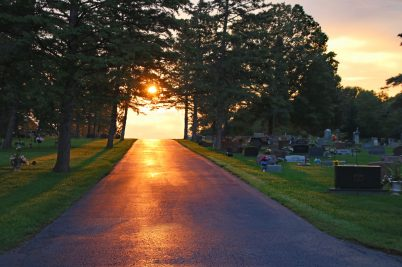 The Cemetery road at sunrise