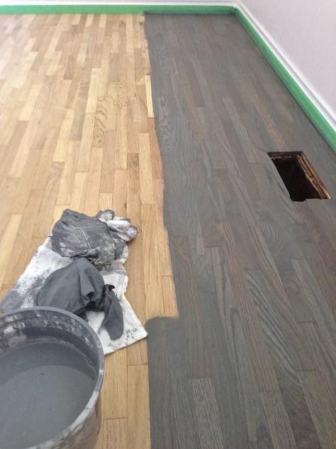 Oak floor stained blue grey