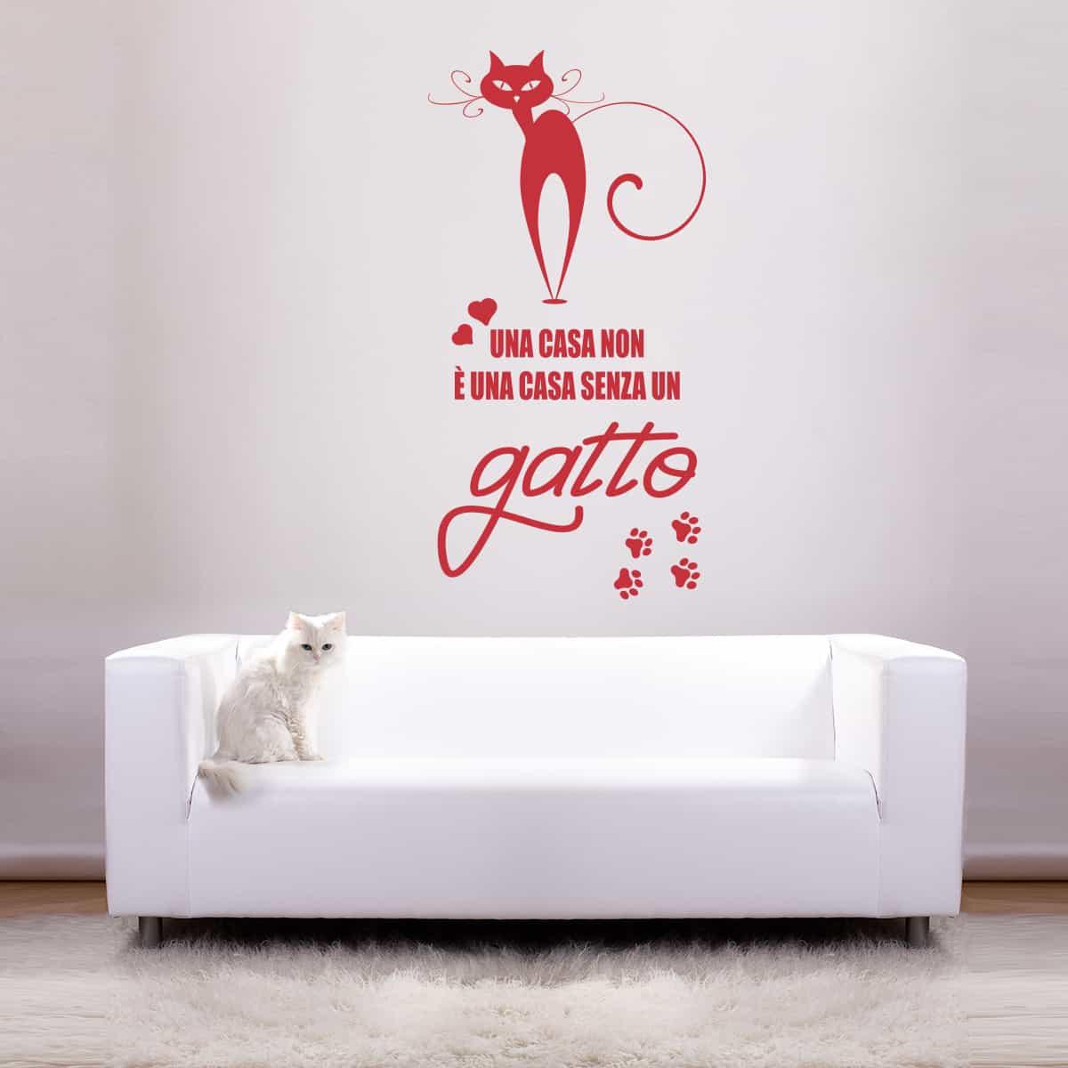 Adesivi murali con i gatti perché se il cane è miglior amico dell'uomo, anche il gatto non scherza! Senza Un Gatto Una Casa Non E Una Casa Evergreen Orange Adesivi