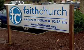 Faith Church in Kent requested a customized metal sign for their facility.