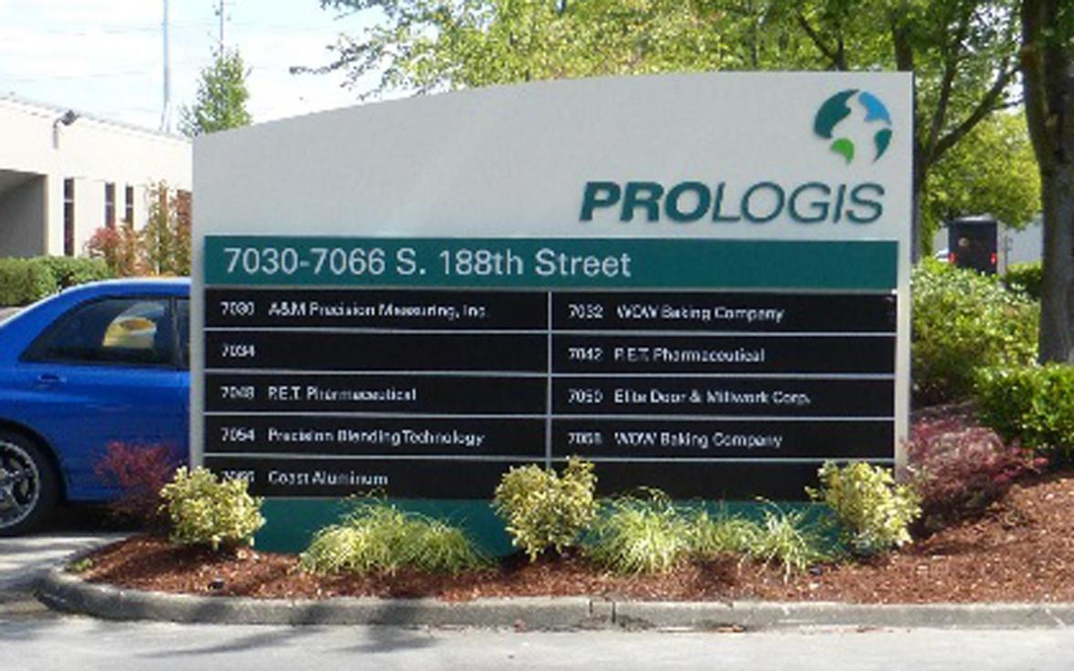 In 2013 Evergreen was one of 10 area sign companies contracted to participate in the worldwide rebranding of Prologis' Puget Sound Area properties. Here, new directional monuments were fabricated and installed.