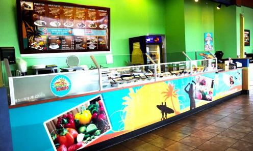 Menu board graphics should reflect the overall branding of the space. Look at ways to highlight product on the cash wrap and with poster options that are interchangeable for seasonal and pricing updates.