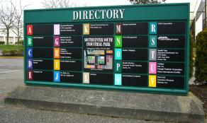 Southcenter South's directory sign provides an alternative solution to way finding through a multi-building industrial park.