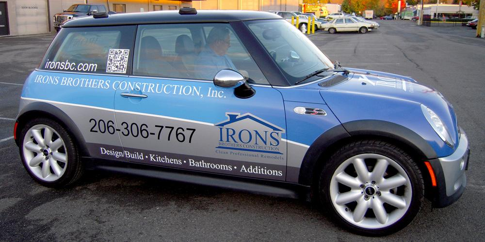 Vehicle graphics are a moving billboard, even when it's a Mini! Customizing any vehicle - large or small - is all part of the work we do at Evergreen.