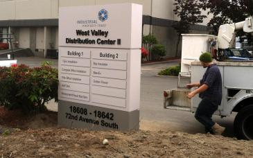 Monument signage installation is one of our specialties. Our crew works to maintain the integrity of the landscaping while placing the new signage.
