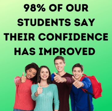 98% of our student say their confidence have improved. Excited students with thumbs up.