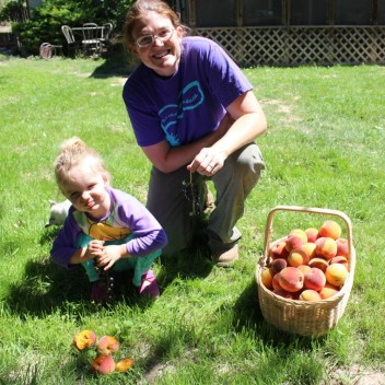Kim and Ember - first peach harvest