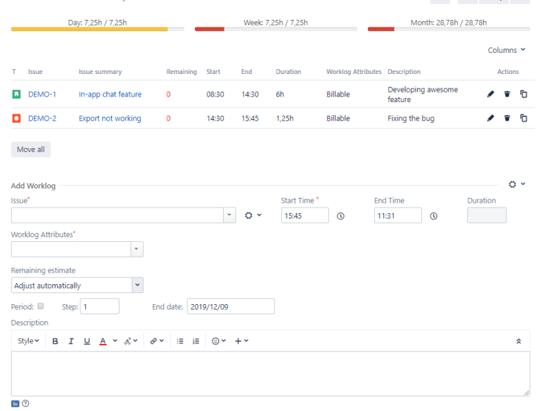 The main page of the Timetracker