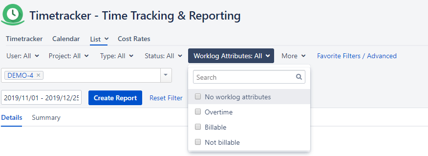 Worklog Attributes filter in Timetracker Reporting