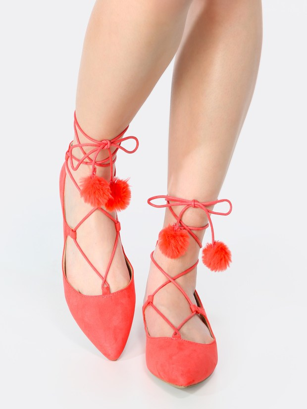 Pom Pom Lace Up Flats HOT CORAL
