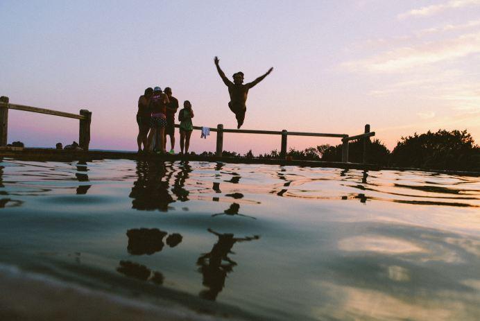 fun summer sunset jump water kids teens lake
