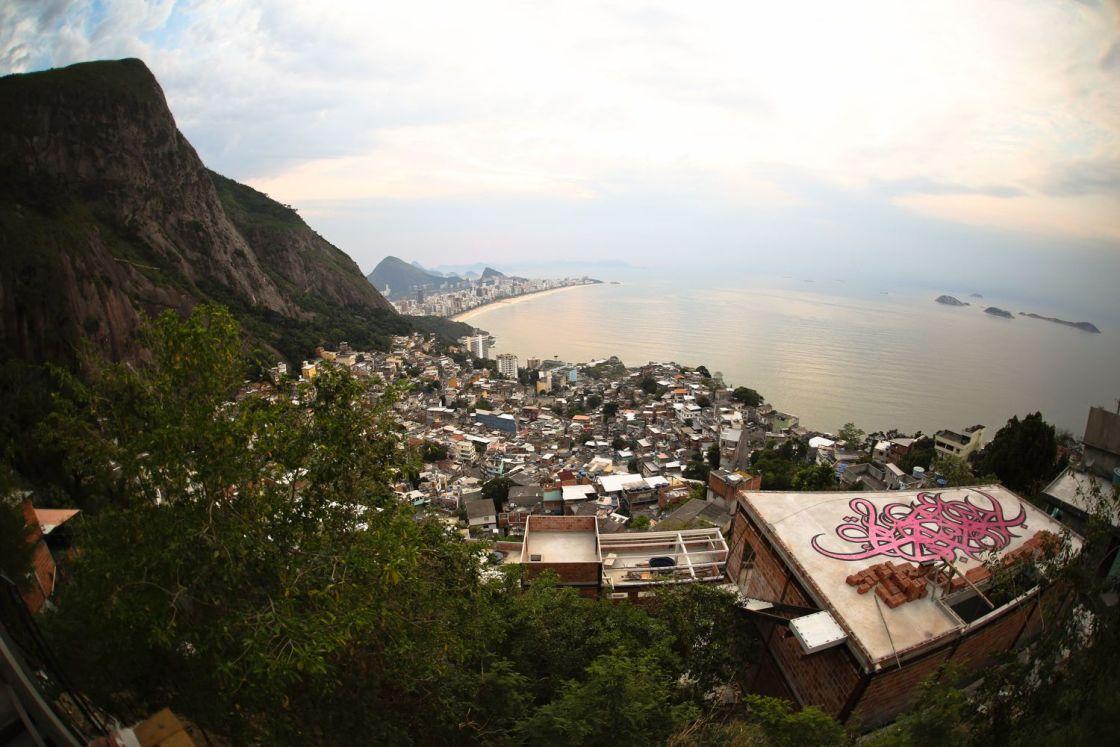 Rooftop artwork overlooking the ocean in Rio de Janeiro