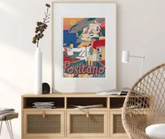 Colourful illustration of Positano in Italy hanging on a wall