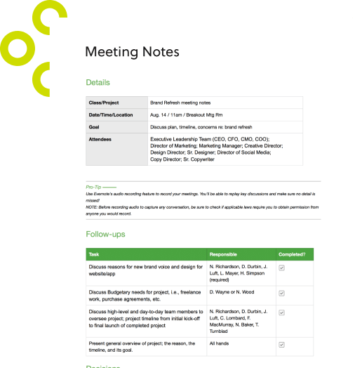 Examples of minutes taken at a meeting. Meeting Minutes Template Capture Concise Meeting Notes