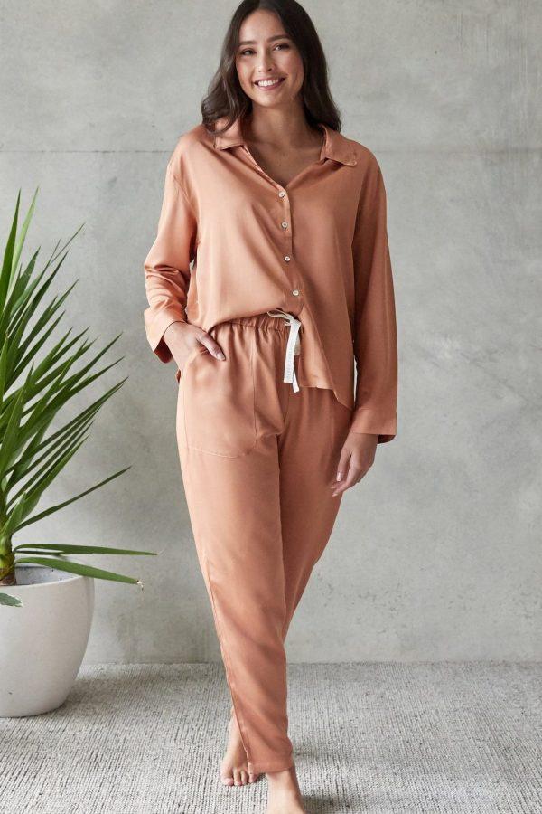 Jo Long Sleepwear Set Rust 1
