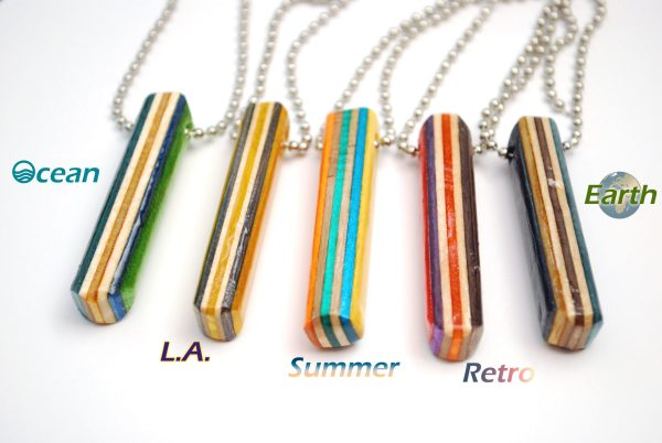 bar necklace, wood, recycled, jewelry, skateboard