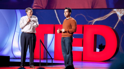 Image: Sal Kahn of Kahn Academy on stage at TED conference with Bill Gates