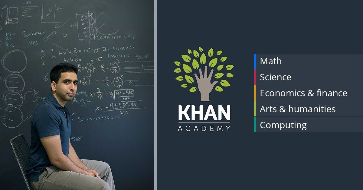 Image: Kahn Academy founder sitting in front of a blackboard with the subjects