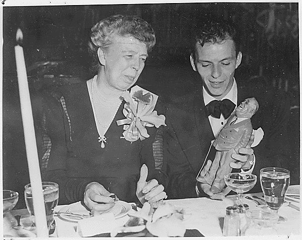 Image: Eleanor and Frank Sinatra holding a depiction of the late Franklin D. Roosevelt