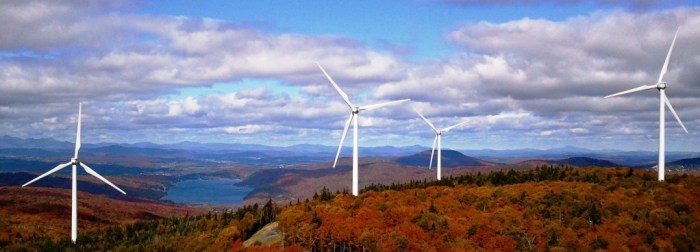 Image: Renewable energy via a wind farm in Crystal Lake, Vermont