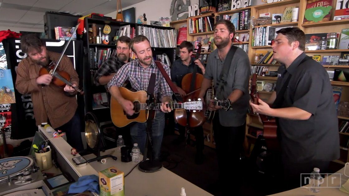 Image: Trampled by Turtles playing at NPR's Tiny Desk