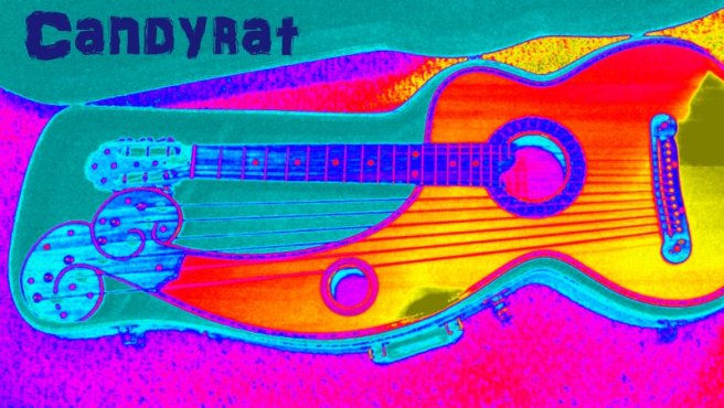 Image: a picture of a Harp Guitar in warped color with the Candyrat records logo in the upper lefthand corner