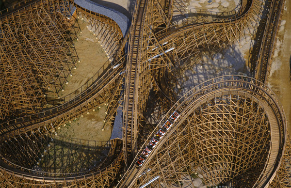 Image: Aerial photo of an ancient wooden roller coaster