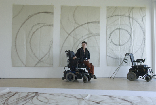Image: One of Sue Austin's wheelchair paintings
