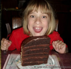 Image: Girl with Huge piece of cake