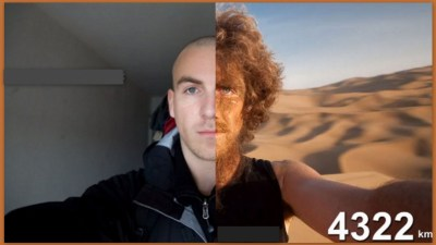 Image: Before and After photo of Christoph Rehage's longest walk