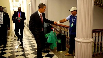 Image: President fist bumping White House Janitor