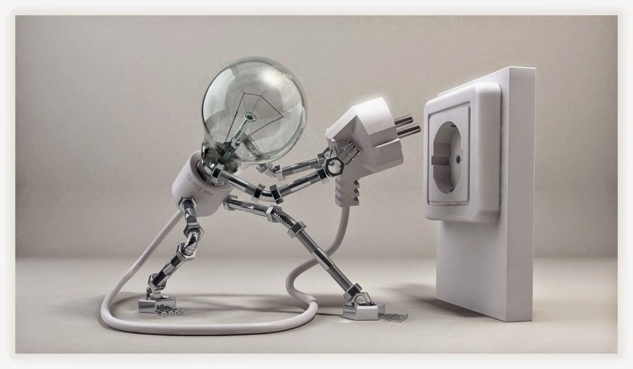 Image: Light bulb figure plugging itself in