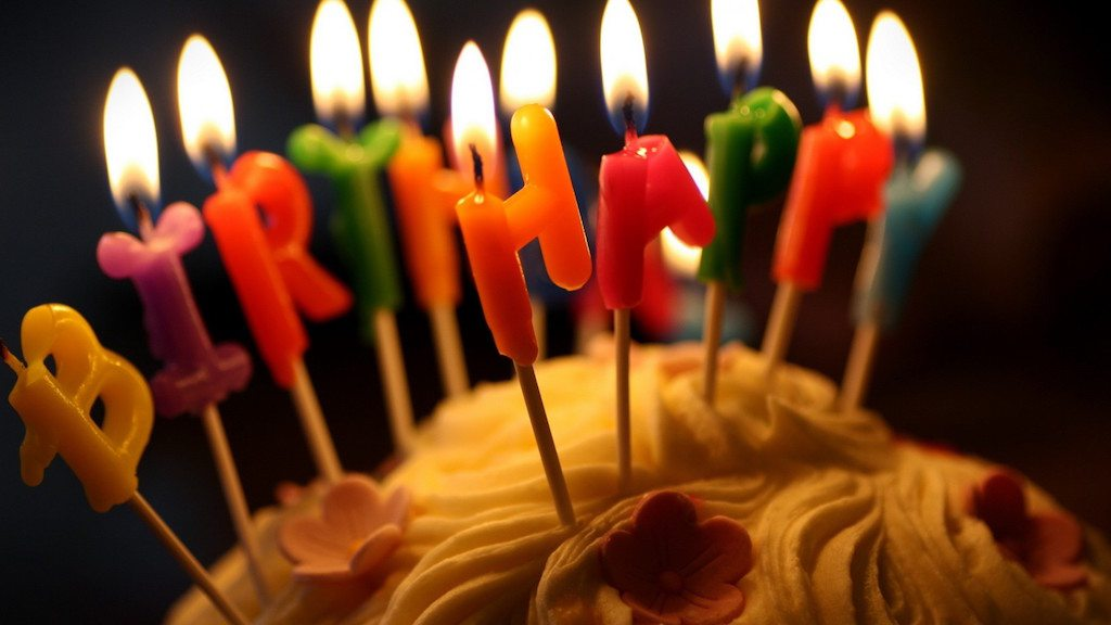 Image: Birthday cake with happy birthday candles on it