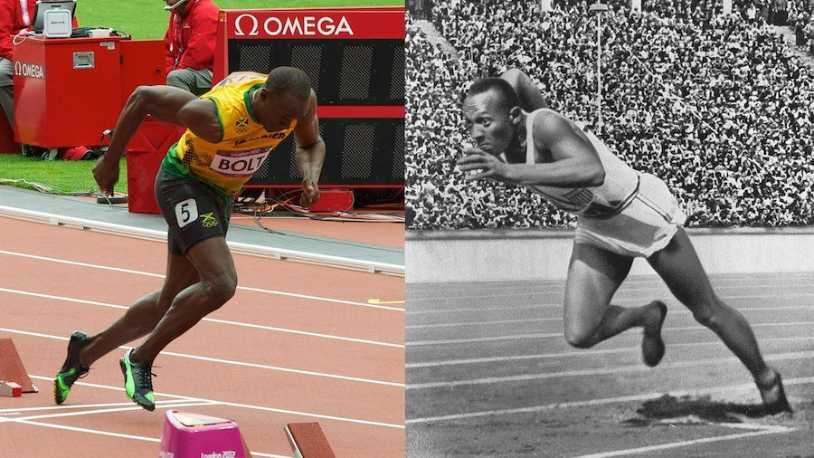 Image: Usain Bolt running on the left, and Jesse Owens running on the right