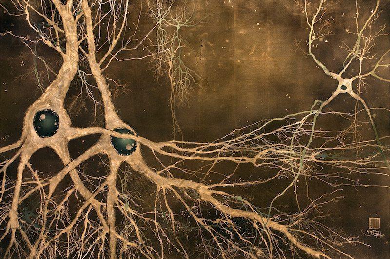 Image: Neuroscience Artist Dr. Greg Dunn's piece Maki-e-neurons. Neurons in gold leaf