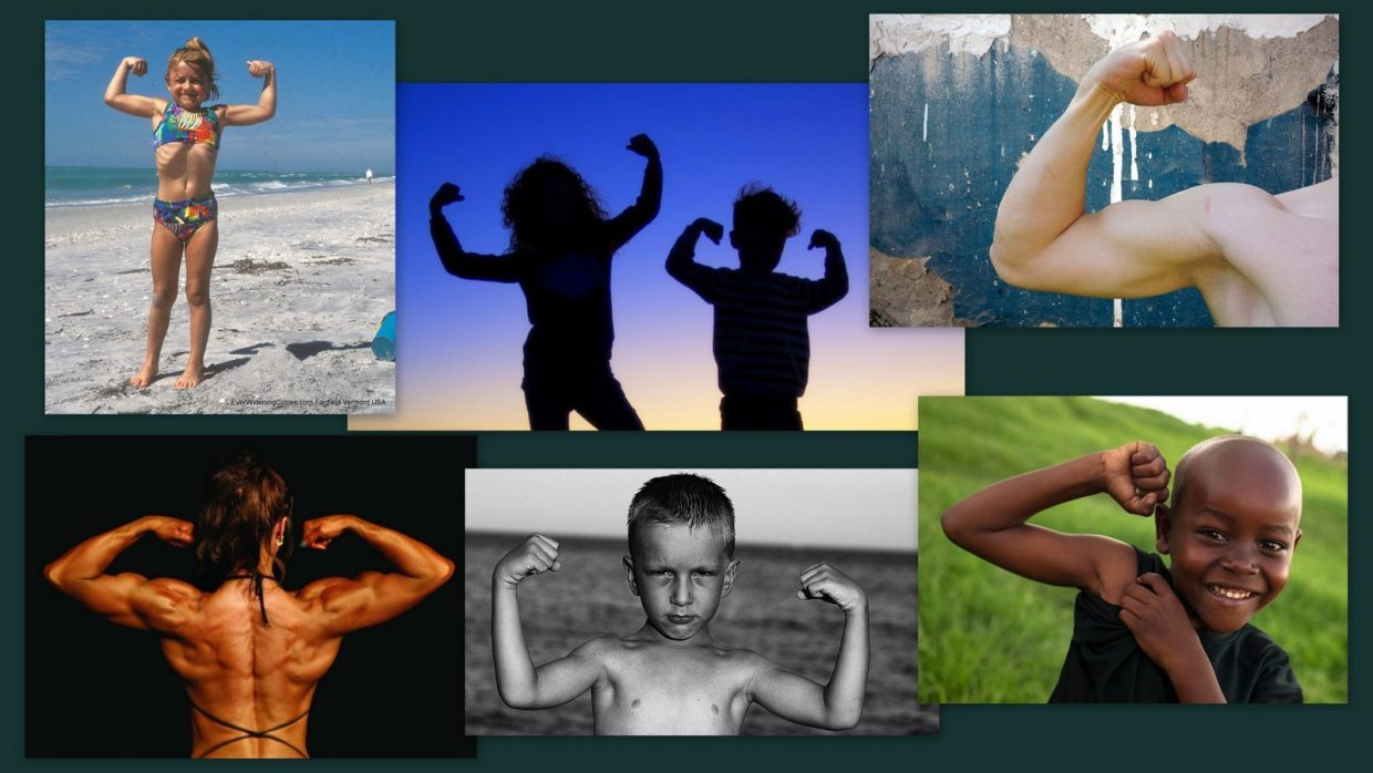 Image: Collage of people in muscle pose
