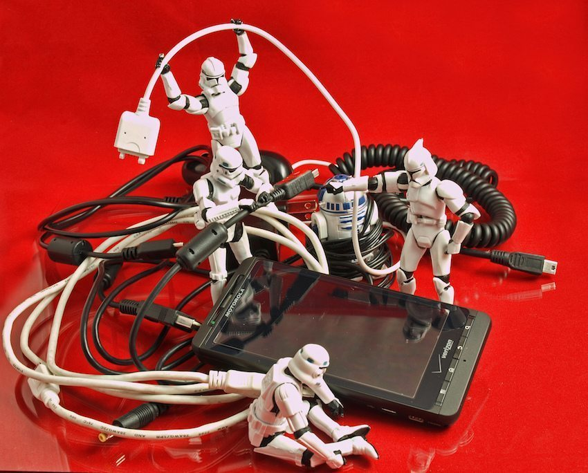 Image: Storm Trooper toys play with cell phone chords