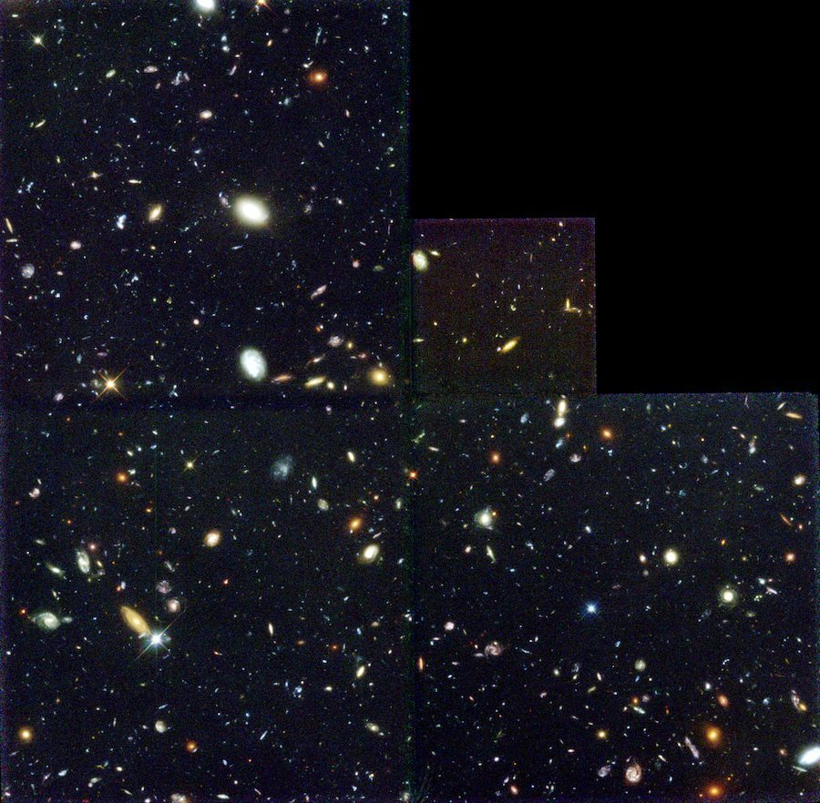 Image: The Hubble Deep Field image picturing distant galaxies looking back 12 billion years