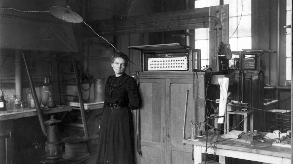 Image: Madame Curie in her lab