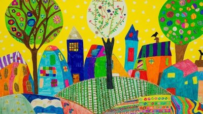 Image: A child's drawing of a colorful happy town