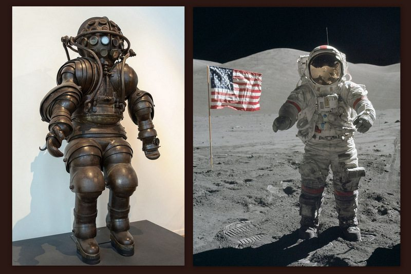 Image: An early deep sea diving suit and a similar looking space suit