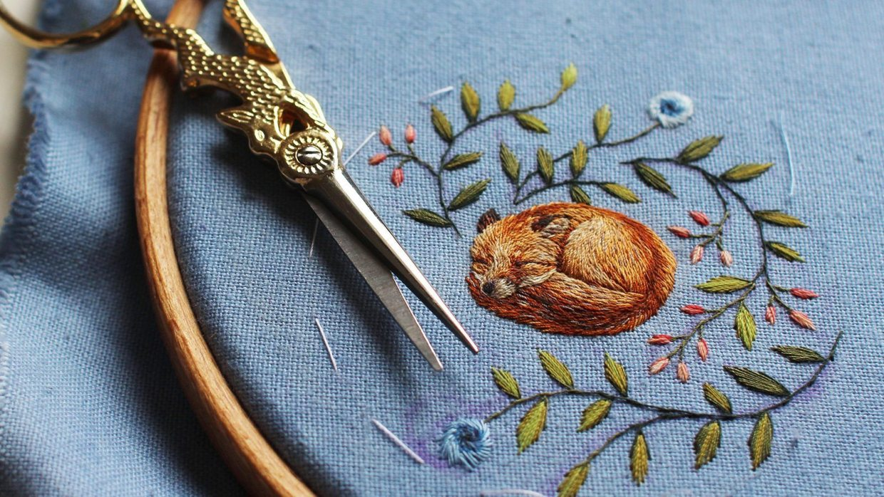 Image: Freehand embroidery of a fox by Chloe Giordano